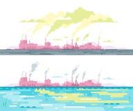 Pollution de l'eau d'air et d'usine Photo libre de droits