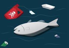Pollution de l'eau faire les poissons morts, vecteur illustration stock