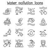 Pollution de l'eau, ic?ne de probl?me d'?cologie r?gl?e dans la ligne style mince illustration libre de droits