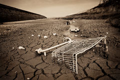 Pollution on dried up river Royalty Free Stock Photos