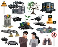 Pollution Ecological Disaster Set. Ecological disasters flat images set with air water pollution hazardous waste related health problems isolated vector royalty free illustration