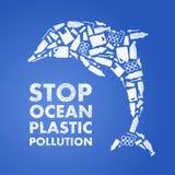 Pollution en plastique d'océan d'arrêt affiche écologique Dauphin composé de sac de rebut en plastique blanc, bouteille sur le fo illustration libre de droits