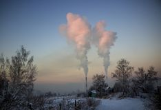 Pollution of the environment by heavy industry royalty free stock photos