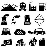 Pollution and environment icons. Pollution, global warming and environment icons Stock Image