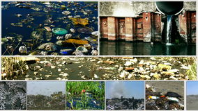 Pollution of the environment-split screen Stock Image