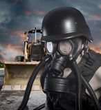 Pollution.Environmental disaster. Post apocalyptic survivor in g Royalty Free Stock Photos