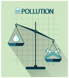 Pollution flat design, classic scales of justice Stock Photo
