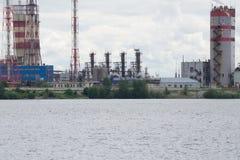 pollution Fumée de cheminée industrielle Vieille cheminée d'usine Photos libres de droits