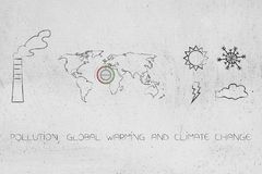 Pollution, global warming and climate change icons. Pollution, global warming and climate change conceptual illustration: chimney, world map with thermostat and royalty free illustration