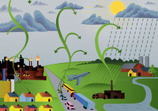 Pollution globale Images libres de droits