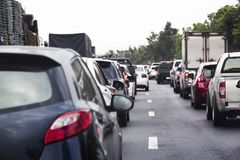 Pollution from heavy traffic and cigaratte. Form human make toxic on environtment in travel season Stock Photography