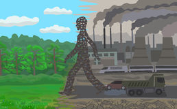 Pollution. Humanity is seizing new territory and pollutes the environment Stock Photos