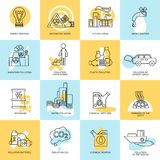 Pollution icon set Stock Photography