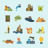Pollution icon set Stock Photo