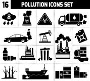 Pollution Icons Black Stock Photo