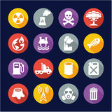 Pollution Icons Flat Design Circle Royalty Free Stock Photography