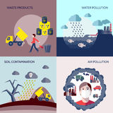 Pollution icons flat set vector illustration