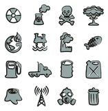 Pollution Icons Freehand 2 Color. This image is a illustration and can be scaled to any size without loss of resolution Royalty Free Stock Photography