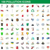 100 pollution icons set, cartoon style. 100 pollution icons set in cartoon style for any design illustration vector illustration