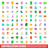 100 pollution icons set, cartoon style Royalty Free Stock Images