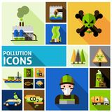 Pollution Icons Set Royalty Free Stock Photos