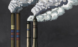 Pollution from Industrial Chimneys Royalty Free Stock Image
