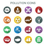 Pollution long shadow icons Royalty Free Stock Images