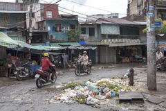 Pollution in China town in Ho Chi Minh. Many cities in Asia has huge problem with garbage disposal public services. It is just one of the problems as those stock photography