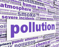 Pollution message conceptual design. Pollution message with power station chimney and smoke. Environmental pollution conceptual design Royalty Free Stock Images