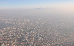 Pollution Mexico City. Aerial view of Mexico City where air pollution can be seen Royalty Free Stock Image