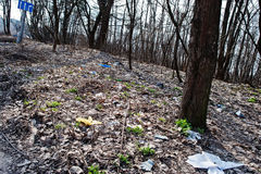 Pollution of nature theme. Garbage at forest near road. Royalty Free Stock Images