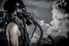 Pollution, Nuclear Disaster, Man With Gas Mask, Protection Stock Image