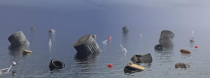 Pollution in the ocean - 3D render Royalty Free Stock Image