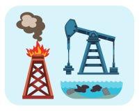 Pollution par les hydrocarbures environnementale de problèmes écologiques de vecteur de la terre de l'eau Photo libre de droits
