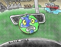 Pollution Poor Earth Putt Into Black Hole Illustration Royalty Free Stock Photos