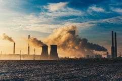 Pollution from power plant Stock Images