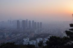Pollution problem with Dalian city aerial view Royalty Free Stock Photos
