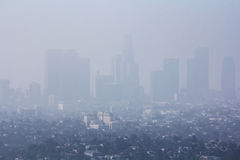 Pollution problem in urban area. Low visibility caused by pollution problem in urban area Stock Photo