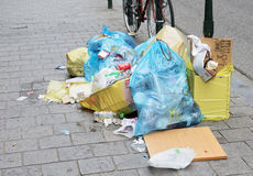 Pollution and problems for collection of rubbish Stock Image