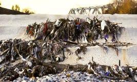 Pollution sèche d'ordures de fleuve image libre de droits