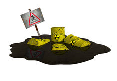 Pollution scene 2. Barrels contain radioactive waste – pollution scene Stock Images