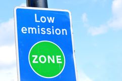 Pollution sign. Low emission zone street sign in central London Stock Photography