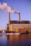 Pollution from smokestacks. Public utility smokestacks in New Jersey Royalty Free Stock Photos
