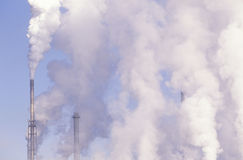 Pollution from smokestacks Royalty Free Stock Photos
