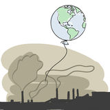 Pollution vector. Planet earth escape from smoke pollution+ vector eps file vector illustration