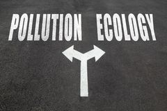 Pollution vs ecology choice concept. Two direction arrows on asphalt Stock Photography
