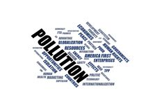 POLLUTION - word cloud wordcloud - terms from the globalization, economy and policy environment Stock Photos