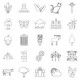 Pollution of world icons set, outline style. Pollution of world icons set. Outline set of 25 pollution of world vector icons for web isolated on white background Royalty Free Stock Photos