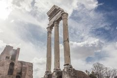Pollux temple in the Roman Forum stock images