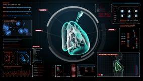 Polmoni umani giranti, sistemi diagnostici polmonari Immagine dei raggi x Tecnologia medica illustrazione di stock